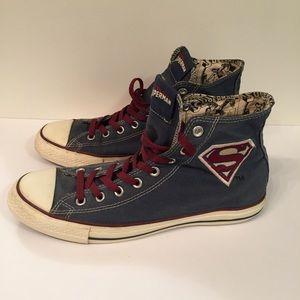 Converse Marvel Superman Navy High Tops Chucks